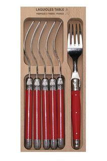 Laguiole 6 Piece Fork Set Red