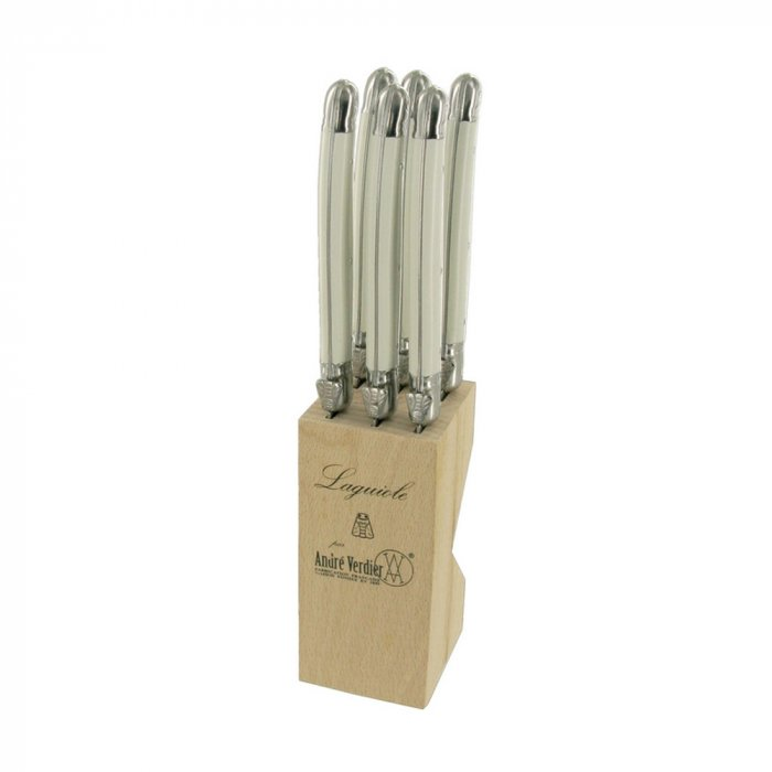 Laguiole 6pce Knife Set White